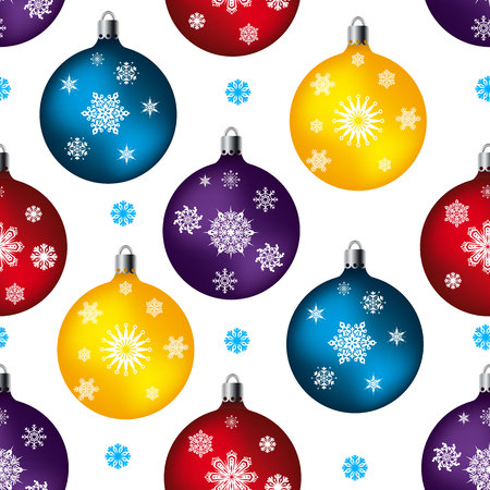 Seamless pattern, toy balls for festive fur-tree, on white background and snowflakes, vector