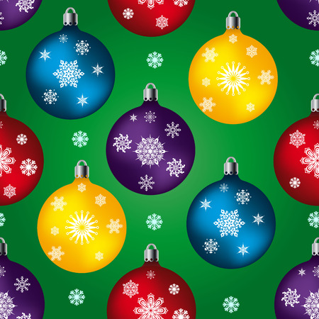 Seamless pattern, toys balls for celebratory fur-tree, on a green background and snowflakes, vector