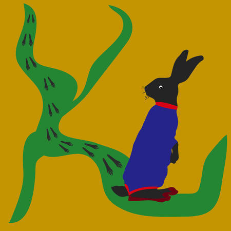Hare looking at road, traces, silhouette-cartoon on yellow background, vector Illustration