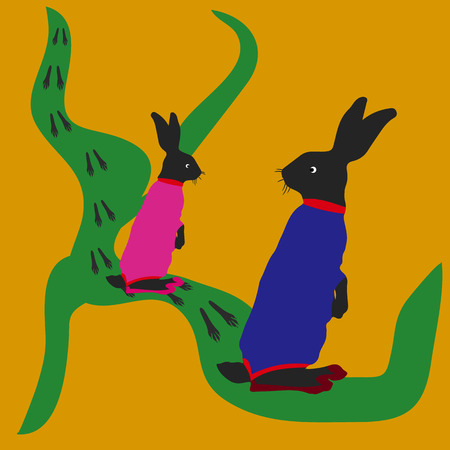 Hare and female hare, jumping along the road, tracks, silhouette-cartoon on a yellow background, vector Illustration