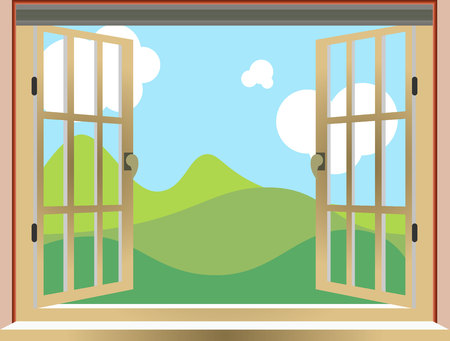 Illustration of an open window, nature view, cartoon, vector