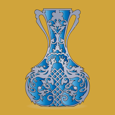 Vase silhouette (blue), ornate, with peacock pattern, on light brown background,