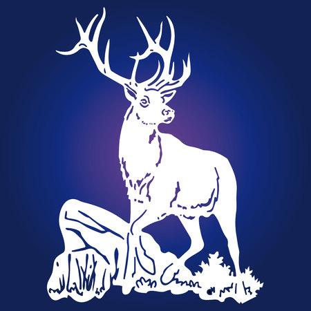 Silueta de un ciervo hermoso, blanco, con una vuelta de la cabeza, sobre un fondo azul, vector Foto de archivo - 92720982