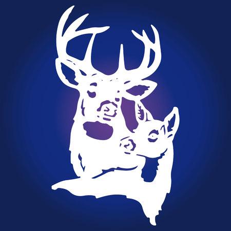 Un par de ciervos blancos (ciervos masculinos y ciervos femeninos) sobre un fondo azul, vector Foto de archivo - 92720984