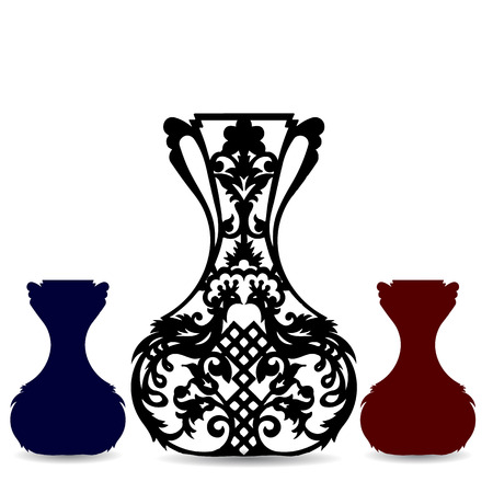 Collection of vase silhouette, ornate, on white background, vector