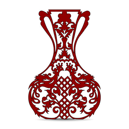 Vase silhouette (dark red), ornate, with peacock pattern, on white background, vector Illustration