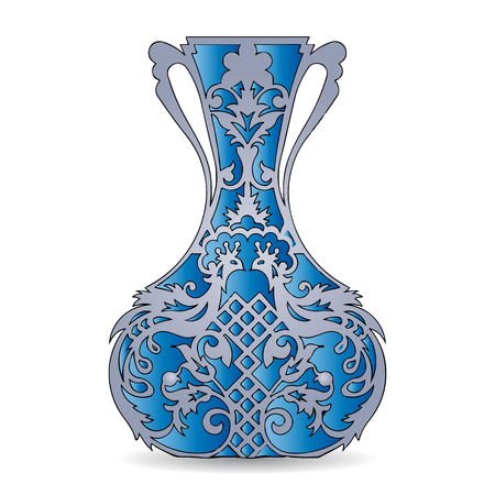Vase silhouette (blue), ornate, with peacock pattern, on white background, vector