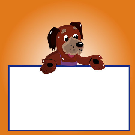 Character dog with empty frame for writing, cartoon on brown background, vector