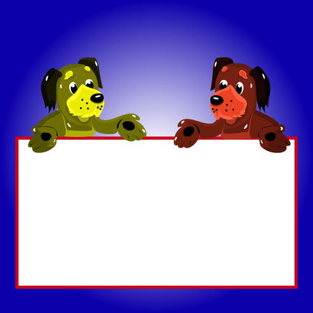 Character, 2 dogs with empty frame for writing, cartoon on blue background, vector Çizim