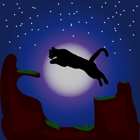 Night illustration, silhouette of a panther in a jump,  Stock Photo