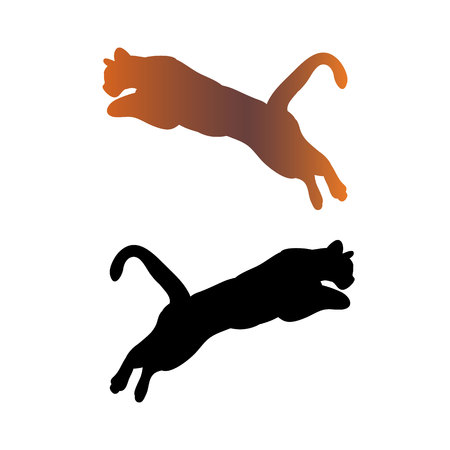 Silhouette of panther jumping, silhouette on white background, vector