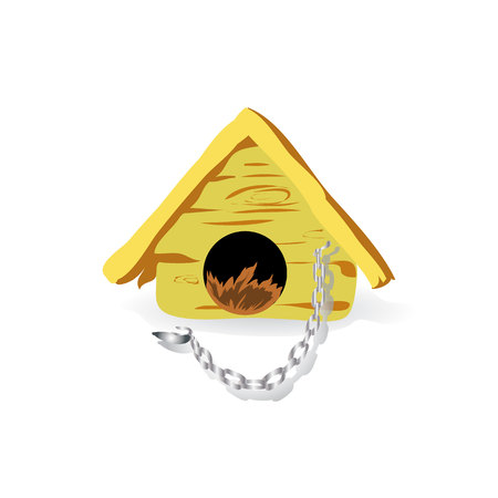 House for a dog, with chain, cartoon on white background, vector