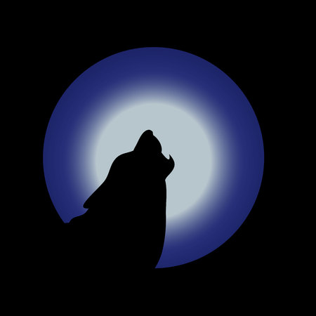 Illustration, wolf head, howls to the moon, silhouette at night,  Stock Photo