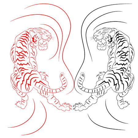 Drawing metaphor, two fighting tigers evil (red and black), cartoon on white background, vector Vektorové ilustrace