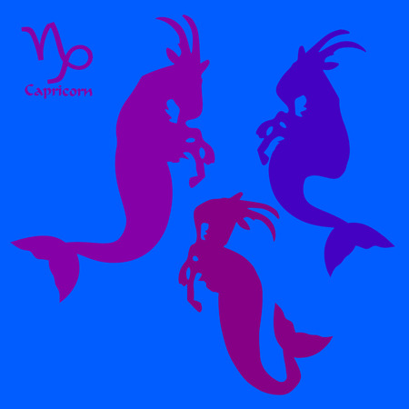 Collection CAPRICORN with tail, abstract silhouette on blue background, vector