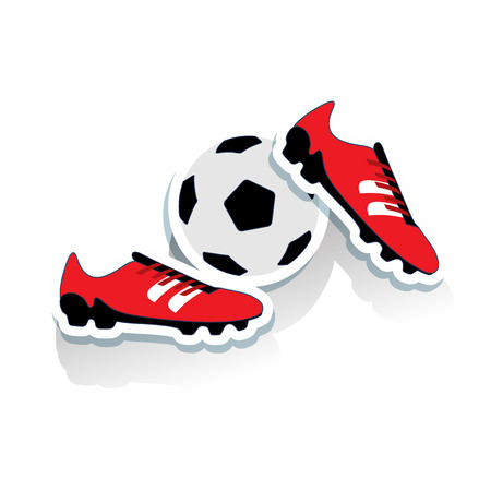 Red soccer shoes and soccer ball, cartoon on white background, vector.