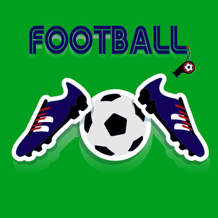Blue football shoes, and soccer ball, and football inscription, cartoon on green background, vector. Illustration