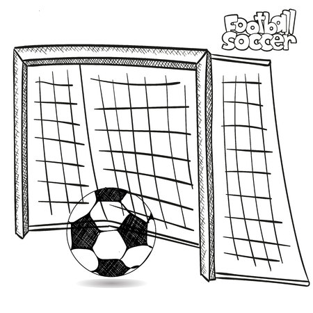 Drawing of soccer goal and soccer ball, on white background, vector.
