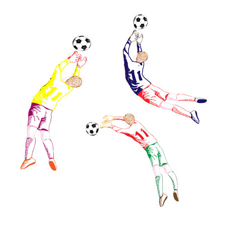 Football goalkeeper in a jump for the ball, collection-drawing on a white background, vector