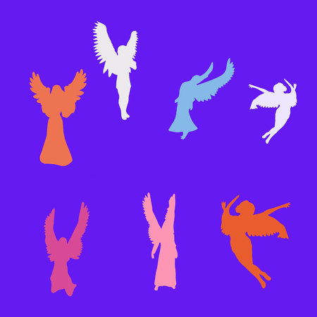 Collection of angels of different colors, silhouette on blue background, vector