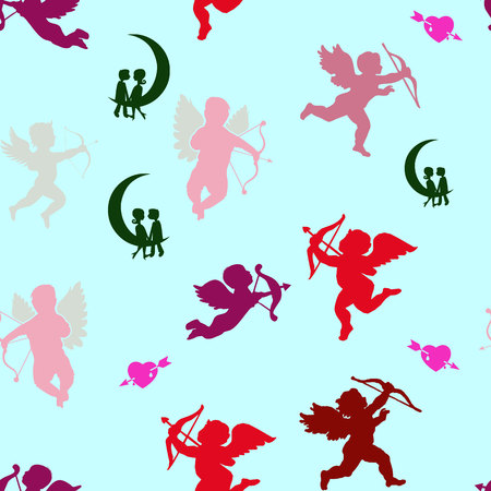 Collection of angels silhouettes and hearts, seamless pattern on Valentine`s Day, on a light blue background, vector