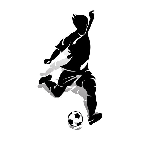Silhouette of an athlete soccer player with a ball, makes a punch, on a white background, vector Vectores