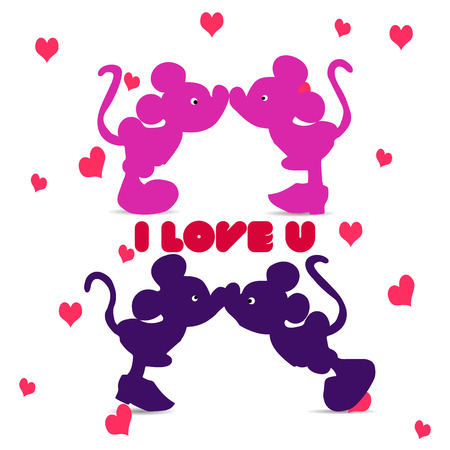 Silhouette of Mickey Mouse (boy and girl) kissing, an illustration for Valentine's Day on a white background with hearts and the inscription