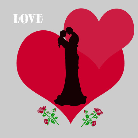 A loving couple kissing in the interior of hearts, with roses on each side, silhouette illustration on Valentines Day on a light gray background and the word LOVE, vector Illustration