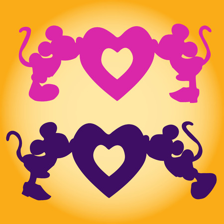 Silhouette of Mickey Mouse (boy and girl) kiss the heart, an illustration for Valentine's Day on a yellow background, Stock Illustration - 95395981