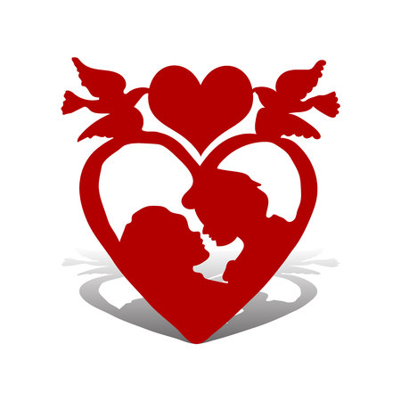 Illustration for Valentine's day, loving couple, in heart with top of pigeons, silhouette on white background, vector icon.