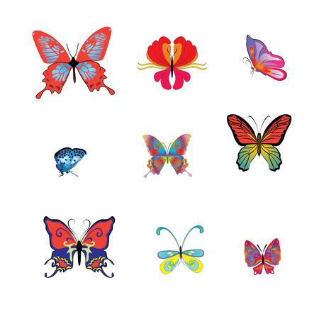 Collezione di farfalle colorate botaniche per il design.