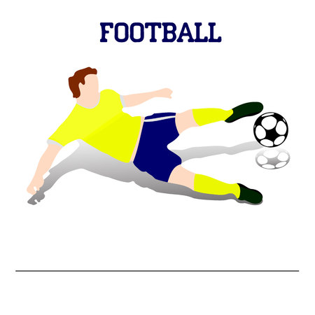 Soccer player with a ball in jump, (in blue shorts and a yellow t-shirt) silhouette on white background, vector illustration. Illustration