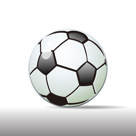 Realistic soccer ball, black and white, on a white background, shadow with a side, cartoon illustration.
