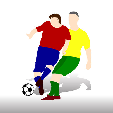Two soccer players playing ball, in red and yellow t-shirt, silhouette on white background vector illustration. Illustration