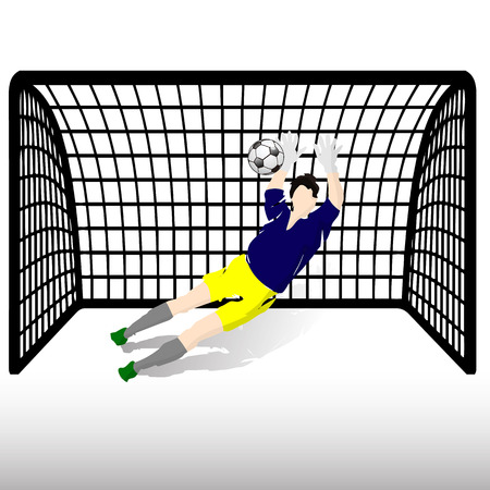 Football goalkeeper in blue t-shirt and yellow shorts catches the ball, at the gate, silhouette-cartoon on white background vector illustration.