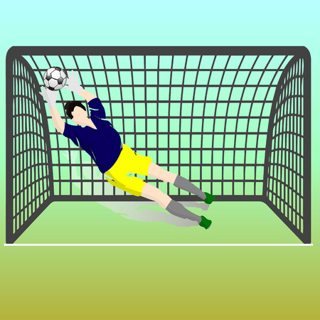 Football goalkeeper in blue t-shirt and yellow shorts catches the ball, at the gate, silhouette-cartoon on blue-yellow background vector illustration.