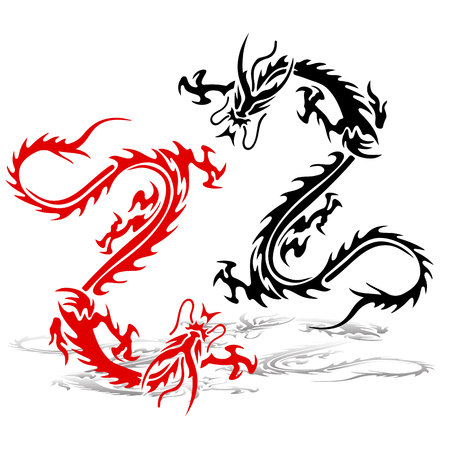 Two silhouette of a dragon (red and black) in a fight. Tattoo on a white background, vector illustration.
