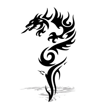 Black Dragon  Silhouette on white background, vector for printing. Çizim