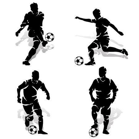 Collection of football players with ball. Silhouette on white background, vector for printing.  イラスト・ベクター素材