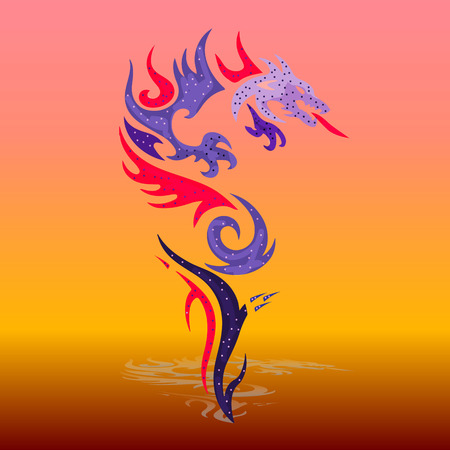 Ornate violet-spotted dragon from the mouth fires, cartoon-silhouette on a fiery red-yellow background, vector