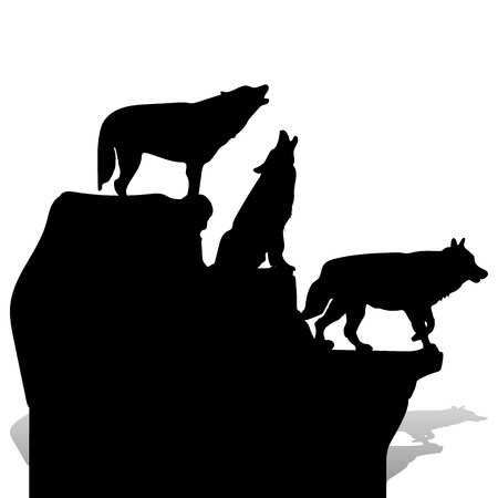 Silhouette of three black wolves howling, on top of a cliff, cartoon on a white background, vector Stock Illustratie