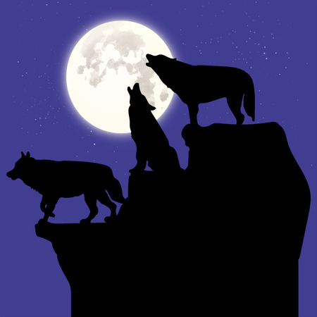 Silhouette of three black wolves howling at the moon, on top of a cliff, cartoon on a blue background with stars, vector Illustration