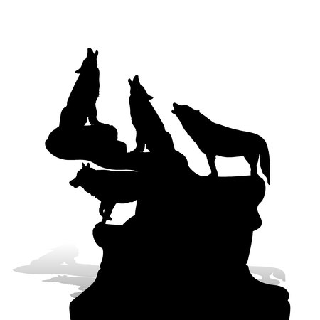 A flock of wolves howling at the moon, on top of a mountain, silhouette on a white background, vector Vettoriali