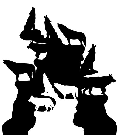 Abstract illustration, A herd of wolves howling at the moon, on top of a mountain, silhouette on a white background, vector
