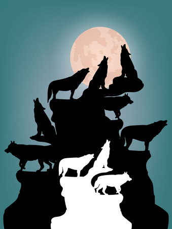 Abstract Night illustration, A herd of wolves howling at the moon, on top of a mountain, silhouette on a blue background, vector