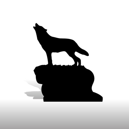 Silhouette of a wolf on a mountain vector illustration