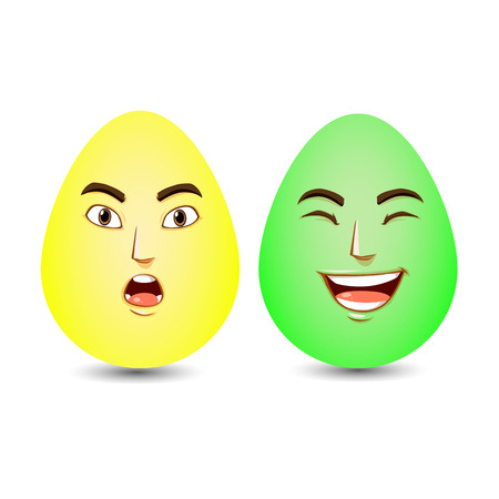 Two caricature Easter eggs on a white background