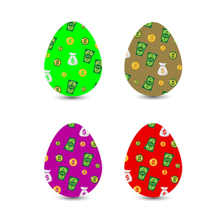 Collection of Easter monetary eggs with dollar pattern