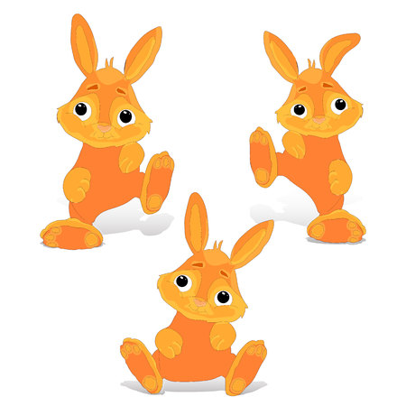 Collection of red-haired rabbit sitting and dancing, cartoon on white background. Vector illustration. Ilustração