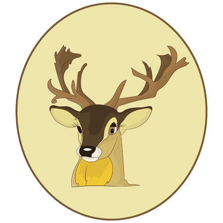 Portrait.The head of a deer in a round frame, cartoon on a white background, vector Ilustração